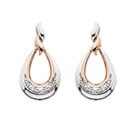 sterling silver & rose gold plated diamond teardrop shaped earrings