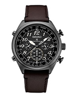 Men's Seiko Prospex radio controlled leather strap chronograph watch