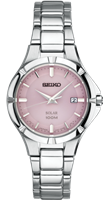 ladies seiko stainless steel pink face watch SUT315