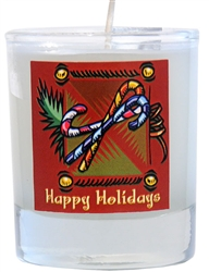 Soy Filled Votive Holders - Candy Cane/Peppermint scent