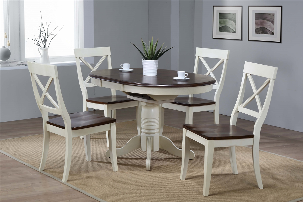 36 X 36 Opens To 48 Solid Wood Round Table With Four Chairs