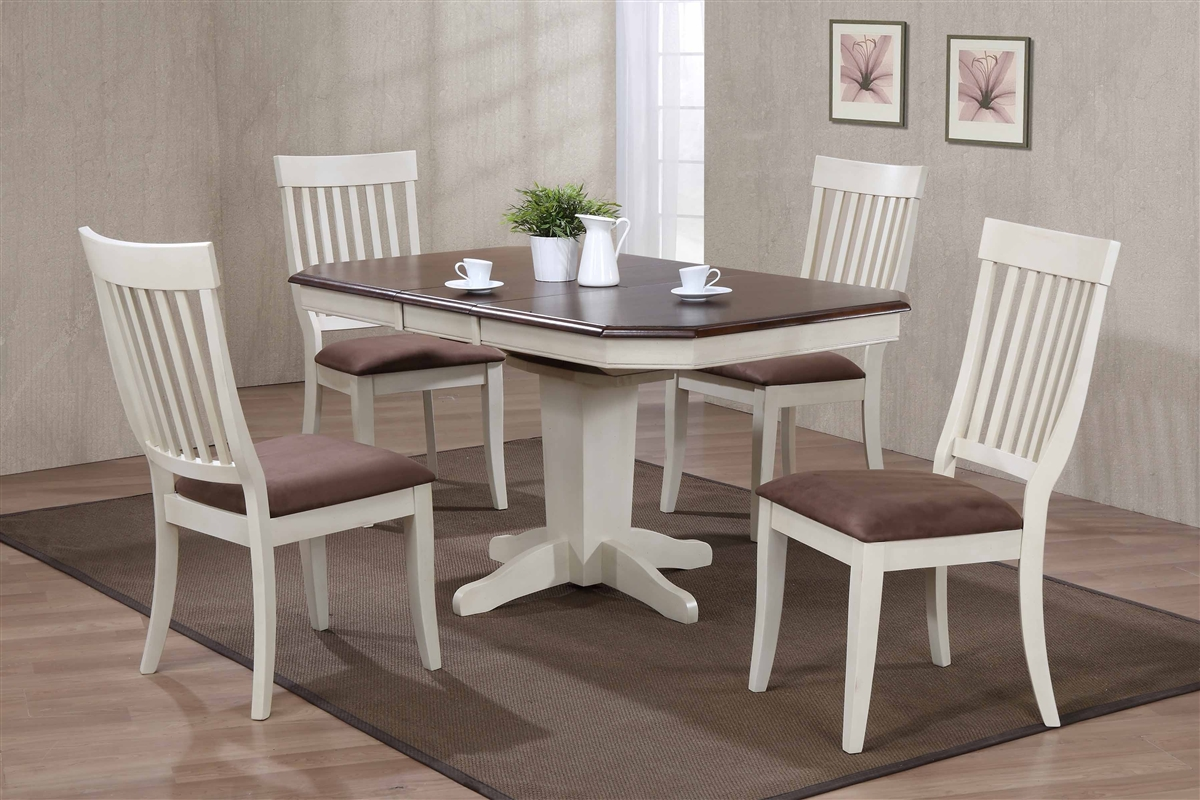 36 X 48 Opens To 60 Solid Wood Cut Corner Table With Four Chairs