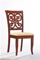 Flower Back Cherry wood chair with Macro fiber seat