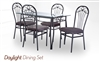 Daylight Dining Set Glass Top Table with base and four Chairs