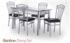 Rainbow Dining Set Glass Top Table with base and four Chairs