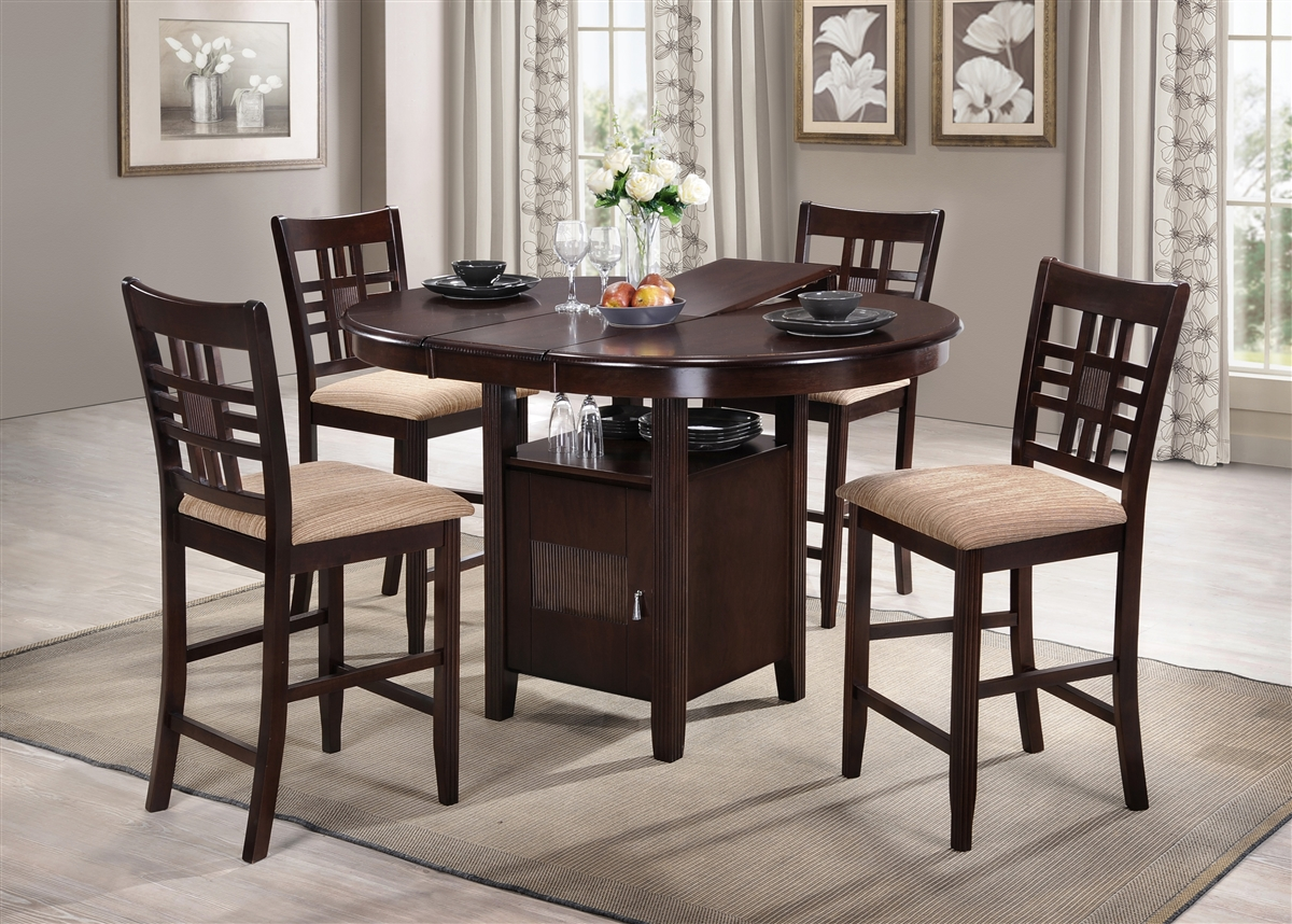 Remarkable 42 Round Island Table Opens To 54 Solid Wood Top With Four Counter Stools Expresso Finish Bralicious Painted Fabric Chair Ideas Braliciousco