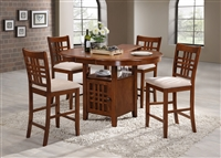 "42"" Round Island Table opens to 54"" Solid Wood Top with four counter Stools Holy Oak Finish"