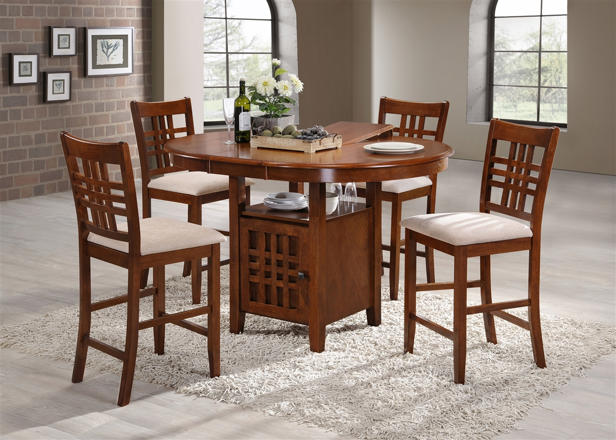 Incredible 42 Round Island Table Opens To 54 Solid Wood Top With Four Counter Stools Holy Oak Finish Uwap Interior Chair Design Uwaporg