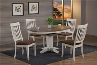 "42"" Round Solid wood Table opens to 60"" Brown Gray top and Antique white"