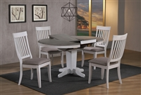 "42"" Round Solid wood Table opens to 60"" Gray top with silver White"