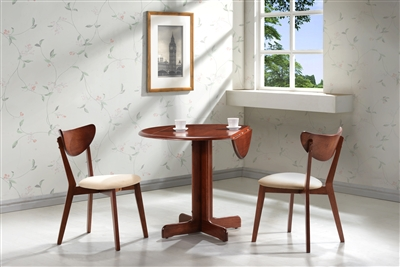 "3 Piece Dining Set. 36"" Drop Leaf Table with Two Chairs All Cherry Finish"