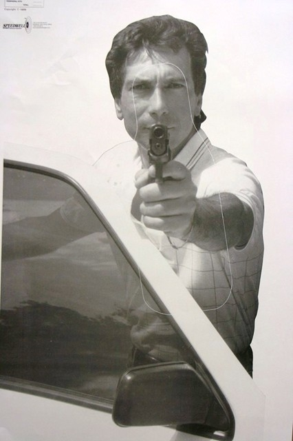 Realistic Hostile Man Behind Car Door W/Gun Target #527