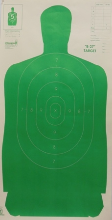 Official Police Qualification Silhouette B27FSA Green Target - Box of 100