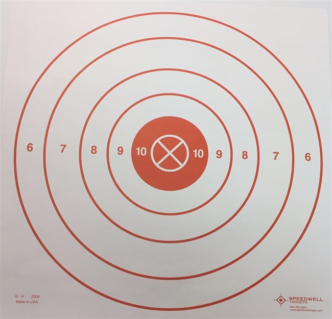 GK Range Target - 15 Bulls-eye with Red Canter - Box of 500