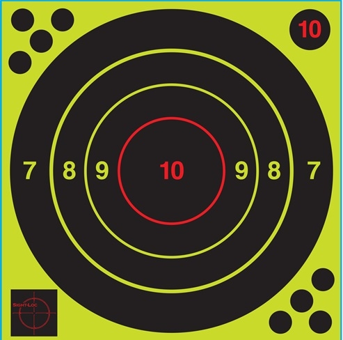 "Sight-Loc 12"" Bulls-eye Target - High Visibility Hit Recognition - Box of 100"
