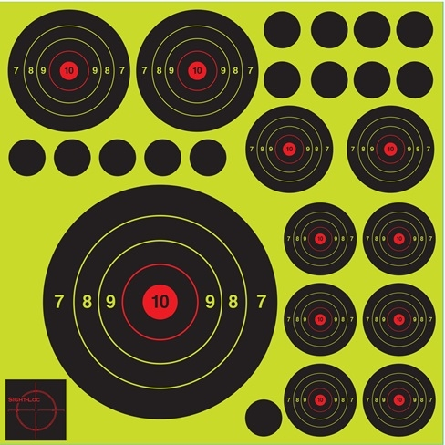 Sight-Loc Multiple Bulls-eye Target - High Visibility Hit Recognition - Box of 100