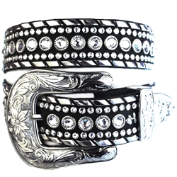 Swarovski crystal rhinestone embellished and studded Leather Belt, with iconic Cowboy Buckle, Loop, and Tip set.