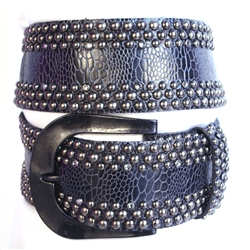 "2 1/4"" width Contoured Crystal Stud Trax Belt w/ Hammered Buckle"