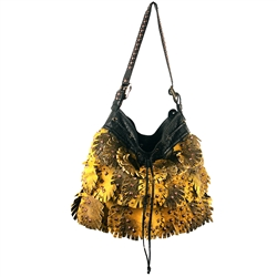 Feather Fringe Hobo Tote w/ Belted Double Rectangle Rings(FXM)