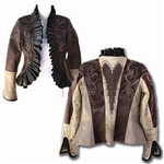 Pleated Scallop Lapel w/ Metal Heart Nordic Wind Patterned Annie Oakley Jacket