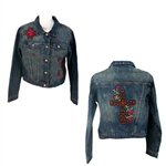 Denim leather rose cross patch jacket