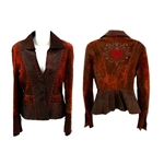 Heart overlay whipstitch shirt jacket