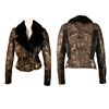 Tattoo Overlay Double Breasted Aviator Jacket w/ Beaver Collar