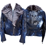 Tribal Skull Overlay Moto w/ Silver Fox Collar