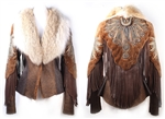 Zaharote Fringe Shearling Jacket w/ Fur Collar