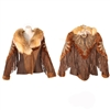 Zahara Shearling Horseshoe Jacket w/ Red Fox Collar