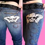 Kippys Butter Skull leather patch Jean