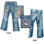 Heart Winged Denim Jeans