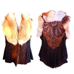 Zahara 1970 Shearling Vest w/ Red Fox Collar