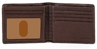 Boconi Tyler Tumbled Rock Solid Billfold in Coffee