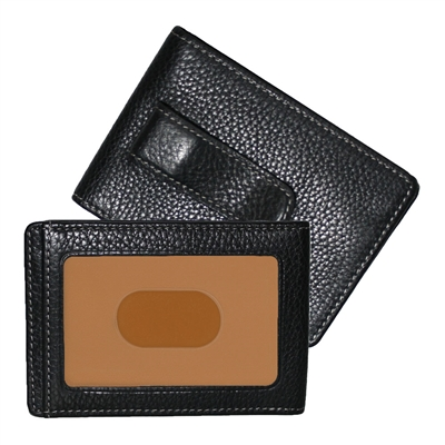 Boconi Tyler Tumbled RFID Two Fold Money Clip in Black