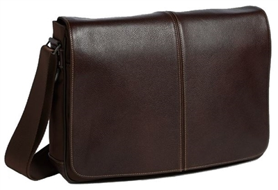 Boconi Tyler Tumbled Slim Mailbag Messenger Coffee