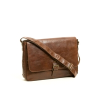 Boconi Becker Buckle Messenger Brief in Whiskey Brown