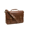 Boconi Becker Flap Dispatch Briefcase in Whiskey Brown