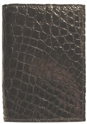 Boconi Crocodile Skin Gusseted Card Case in Black