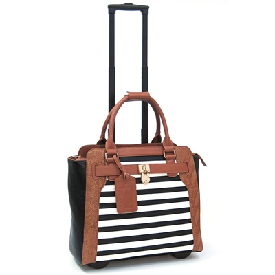 Cabrelli Sally Stripe 15 Laptop Rollerbrief in Black, White and Cognac