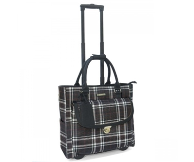 Cabrelli Petra Plaid Rolling Briefcase in Black and White