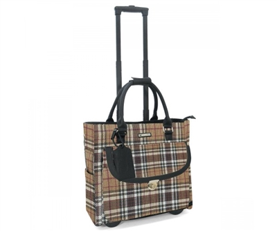 Cabrelli Petra Plaid Rolling Briefcase in Taupe and White