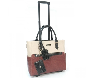 Cabrelli Carrie Croco Rolling Briefcase in Cognac and off White