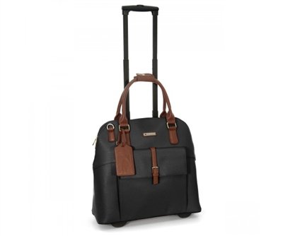 Cabrelli Baylie Buckle Rolling Briefcase in Black