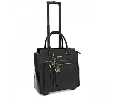Cabrelli Paris Patent Rolling Briefcase in Black