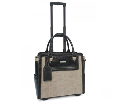 Cabrelli Bethany Basket Weave Rolling Briefcase in Sand and Black