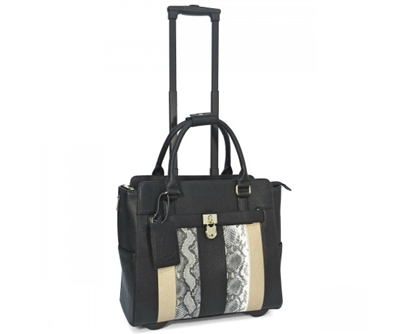 Cabrelli Linda Locket Rolling Briefcase in Black and Gold