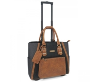 Cabrelli Becca Buckles Rolling Briefcase in Black, Cognac and Charcoal