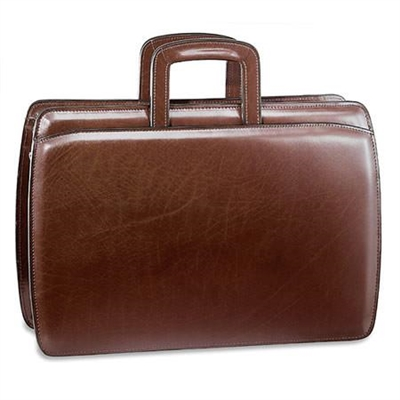 Jack Georges Elements Double Gusset Top Zip Briefcase in Cognac