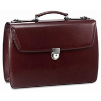 Jack Georges Elements Double Gusset Flap Over Briefcase in Burgundy